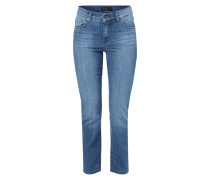 Stone Washed Regular Fit Jeans mit Ziernähten