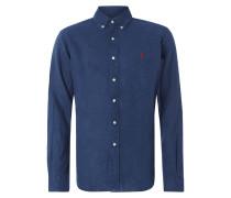 Regular Fit Leinenhemd mit Button-Down-Kragen