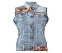 Jeansweste mit Stickereien und Aufnähern