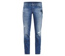 Used Look Boyfriend Jeans mit Ziersteinen