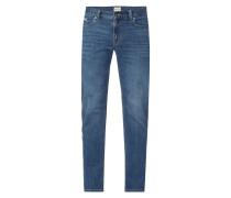 Stone Washed Jeans mit Kontrastnähten