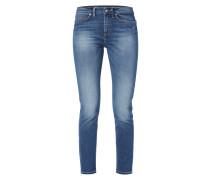 Slim Fit 5-Pocket-Jeans im Used Look
