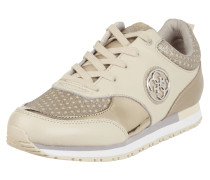 Sneaker aus Leder mit Glitter-Effekt