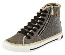 High Top Sneaker aus Leder mit Glitter-Effekt