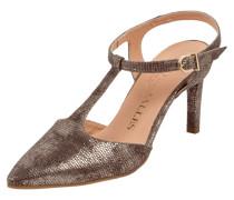 Sandaletten aus Leder in Metallicoptik