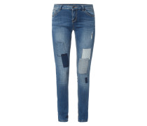 Stone Washed Skinny Fit Jeans mit Patches
