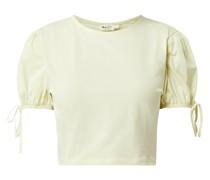 Cropped Shirt mit Puffärmeln