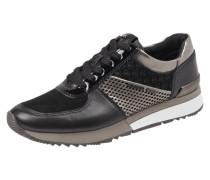 Sneaker aus echtem Leder mit Kontrastbesatz