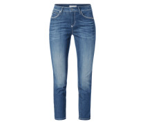 Stone Washed Slim Fit Jeans - verkürzt