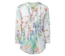 Bluse mit Biesen und floralem Muster