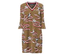 Kleid mit Allover-Muster und Vogeldetails