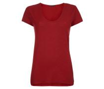 T-Shirt mit abgerundetem V-Ausschnitt