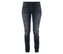 Skinny Fit Jeans im Destroyed Look mit Zierperlen
