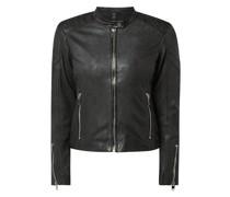 Slim Fit Lederjacke mit Zip-Details Modell 'Safiya'