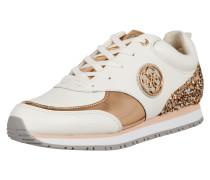 Sneaker mit Besatz in Metallicoptik