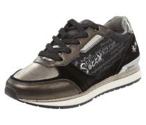 Sneaker aus Leder mit Metallic-Print