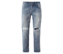 Tapered Relaxed Fit Jeans im Destroyed Look