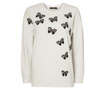 Sweatshirt mit Motiv-Stickerei und Zierperlen