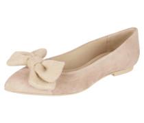 Ballerinas aus Veloursleder mit Zierschleife