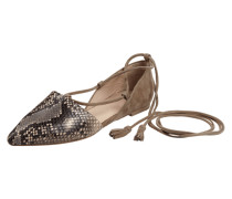Ballerinas in Schlangenlederoptik mit Schnürung