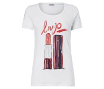 T-Shirt mit Lippenstift-Print