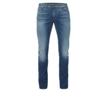 Slim Straight Fit Jeans im Light Used Look