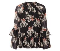 Blusenshirt aus Chiffon mit floralem Muster