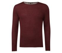 Pullover mit Kontrastabschlüssen - meliert