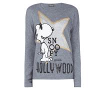 Pullover aus Woll-Kaschmir-Mix mit Snoopy-Motiv