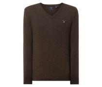 Pullover aus Lammwolle mit V-Ausschnitt