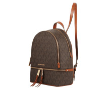 Rucksack aus echtem Leder mit Logomuster