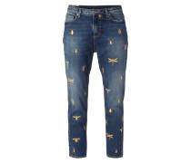 Boyfriend Jeans mit Insekten-Stickereien