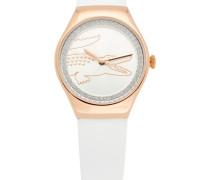 Uhr aus Edelstahl mit Kristallbesatz