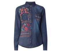 Jeansbluse mit floralen Stickereien