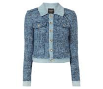 Jeansjacke mit Tweedbesatz