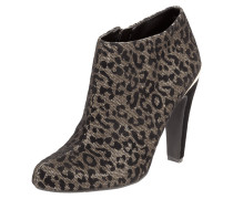 Ankle Boots mit Leopardenmuster aus Samt
