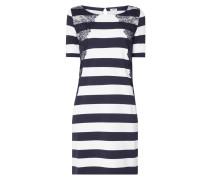 Kleid mit Spitzenbesatz und Streifenmuster