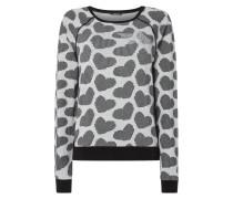 Sweatshirt mit Herzmuster und Ziersteinen