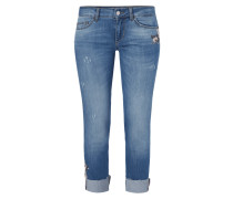 Regular Fit Jeans mit floralen Stickereien