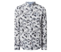 Slim Fit Freizeithemd aus Baumwoll-Leinen-Mix