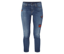 Stone Washed Skinny Fit Jeans mit Aufnähern