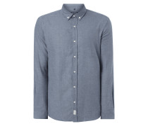 Slim Fit Flanellhemd mit Button-Down-Kragen