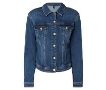 Jeansjacke mit Rüschenbesatz