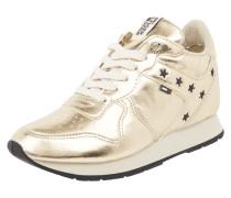 Sneaker in Metallicoptik mit Keilabsatz