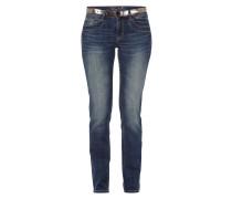 Straight Fit Stone Washed Jeans mit Gürtel