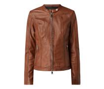 Lederjacke mit Reißverschlusstaschen Modell 'New Tula'