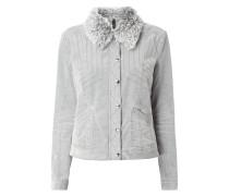 Jacke aus Velvet Cotton mit Welpelz