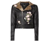 Jacke mit floralen Stickereien - beschichtet