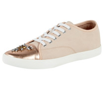 Sneaker aus Leder mit Vorderkappe in Metallicoptik