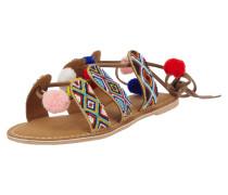 Sandalen aus Veloursleder mit Zierperlen